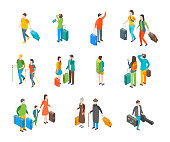 Isometric Travel People Characters Icon Set Isolated on a White Background . Vector illustration of Tourist with Luggage or Suitcase
