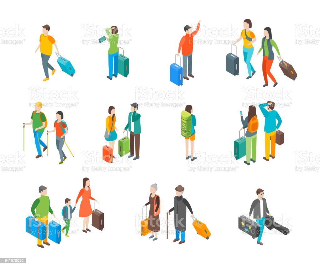 Isometric Travel People Characters Icon Set. Vector vector art illustration