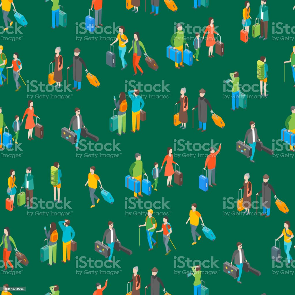 Isometric Travel People Characters Seamless Pattern Background. Vector vector art illustration