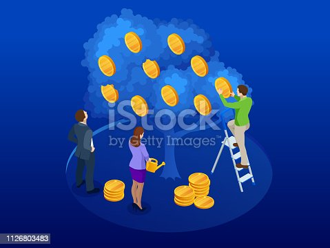 Isometric tree made of money, a symbol of successful business on the blue background. A business team collects profits from a successful, profitable cash proje