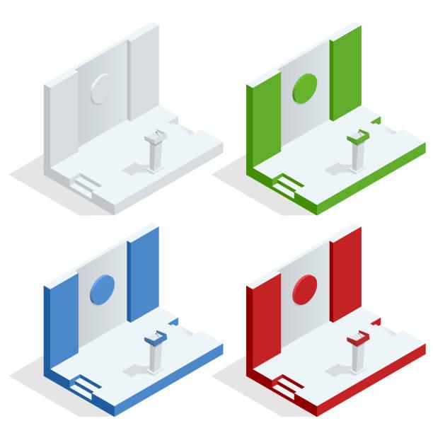 isometrische tribune set vector. podium podest stand mit mikrofonen. business-präsentation oder konferenz, debatte rede isoliert - standlautsprecher stock-grafiken, -clipart, -cartoons und -symbole