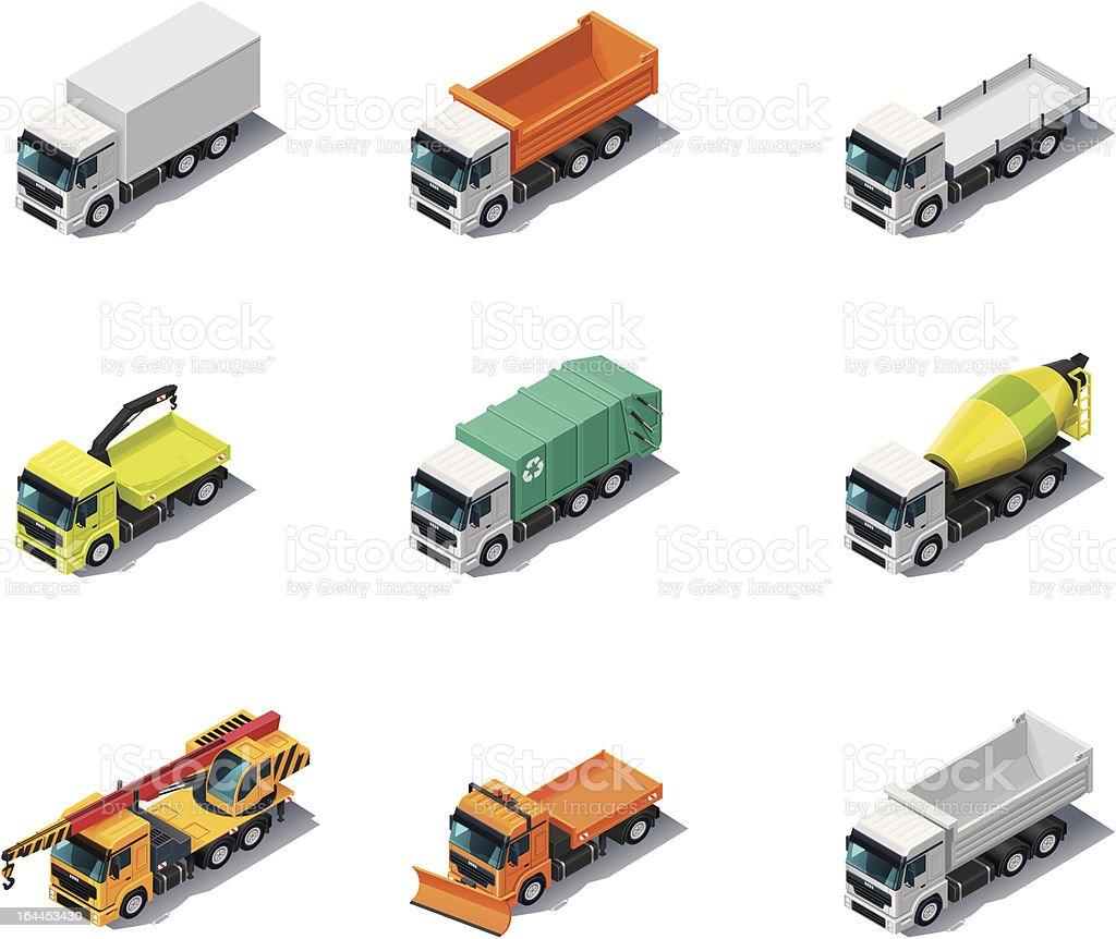 Isometric Trucks vector art illustration