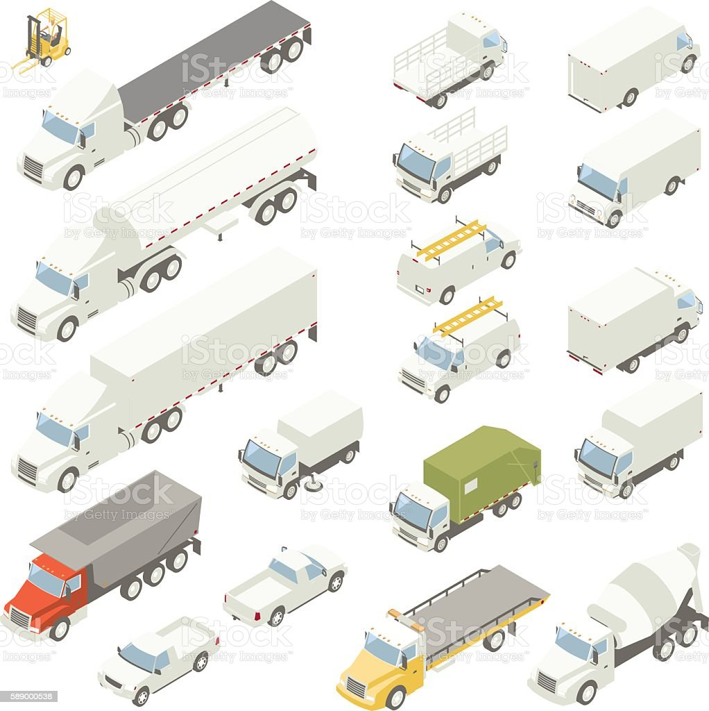 Isometric trucks vector art illustration