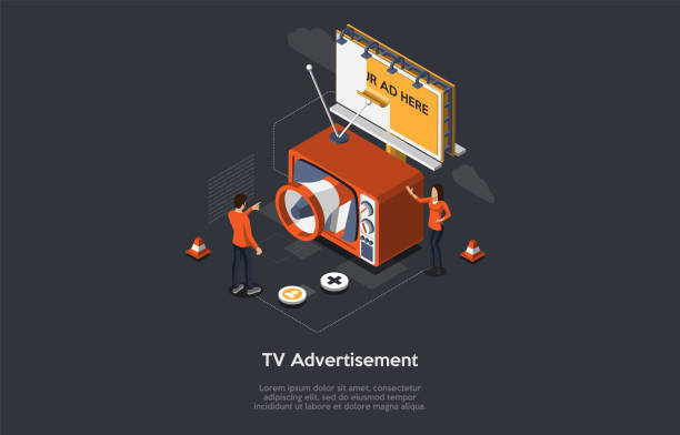 isometric tv advertisement concept, new advertising technologies. audience segmentation, addressable tv advertising, ppc campaign. retro tv with billboard, manager and customer. vector illustration - addressable stock illustrations