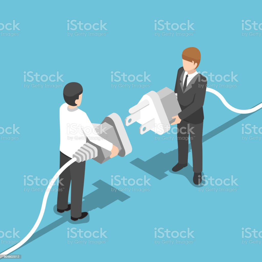 Isometric two businessmen connecting plug together. vector art illustration