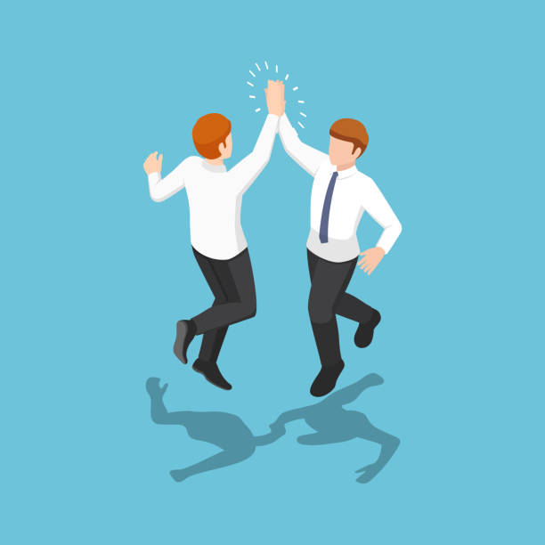 Isometric two businessmen jumping and giving high five in the air vector art illustration