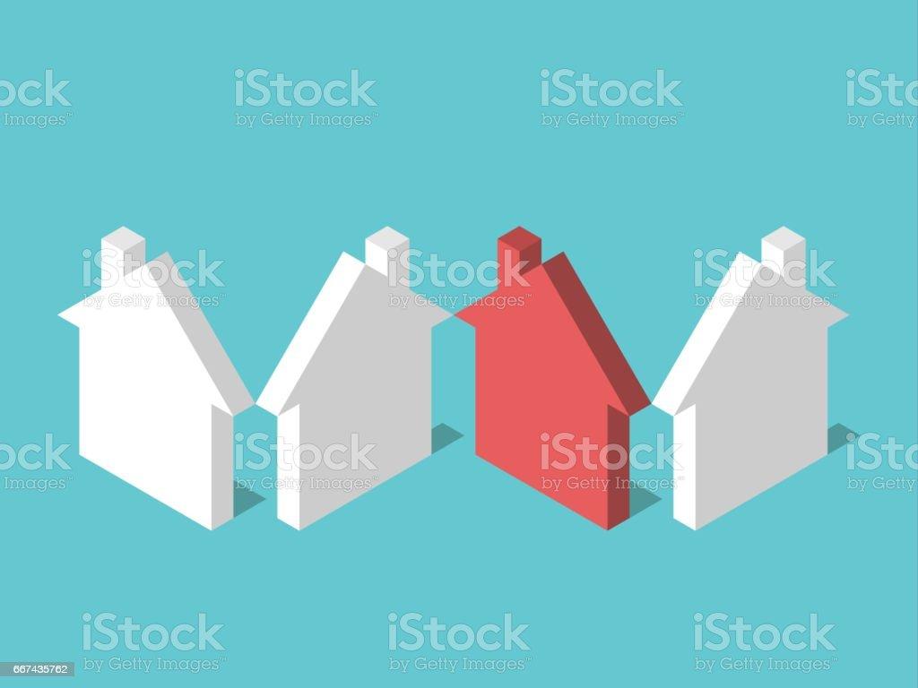 Isométrica exclusiva casa vermelha - ilustração de arte em vetor