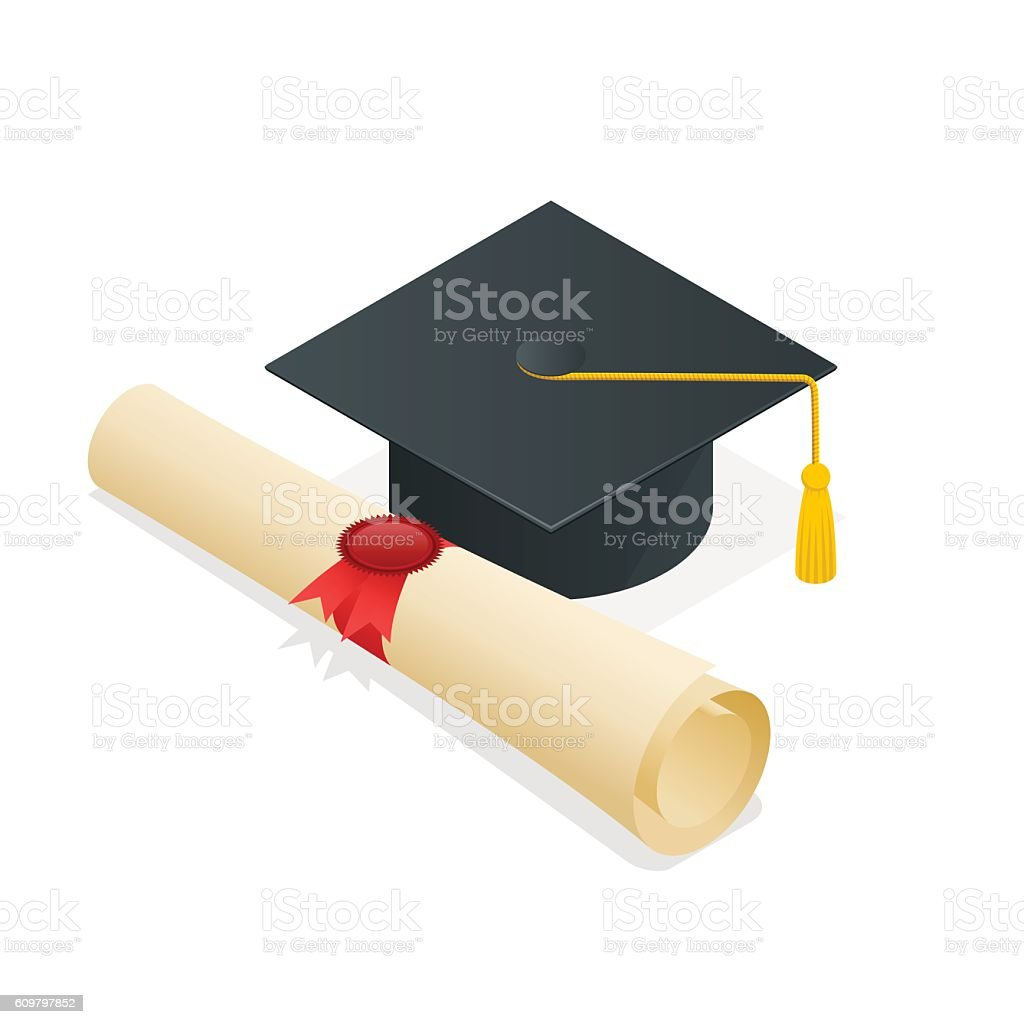 Isometric University student cap mortar board and diploma - ilustración de arte vectorial