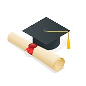 Isometric University Student Cap Mortar Board And Diploma