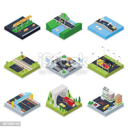 Isometric Urban Infrastructure with Roads, Crossroad, Cars and Bridge. City Traffic. Vector flat 3d illustration