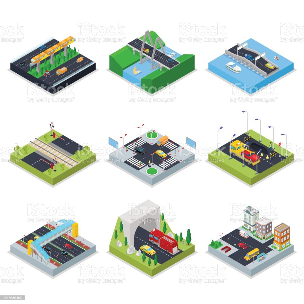 Isometric Urban Infrastructure with Roads, Crossroad, Cars and Bridge. City Traffic vector art illustration