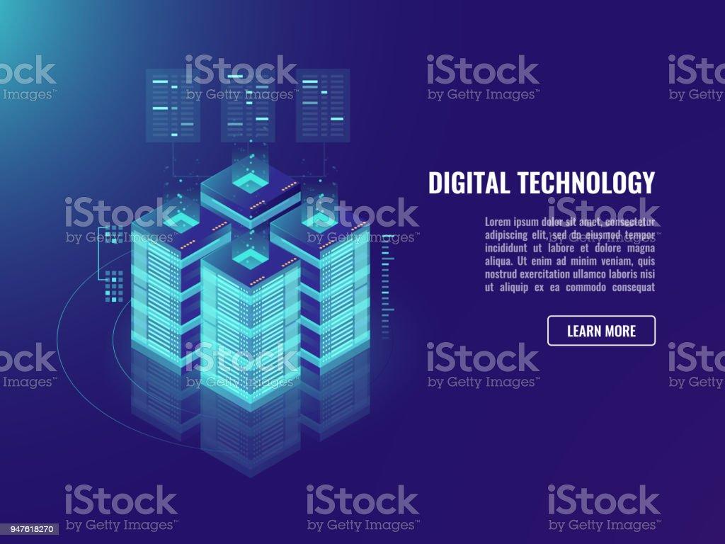 Isometric vecotr server room concept, cloud storage, data warehouse and processing, bigdata banner, neon dark ulstraviolet vector art illustration