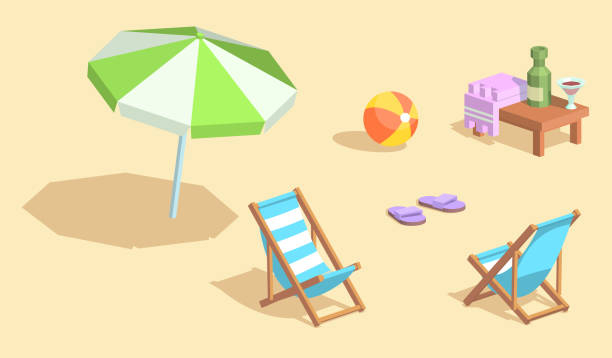 Isometrische Vektorelemente Strand – Vektorgrafik