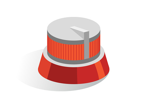 Isometric vector button. Isolated icon. Regulator in gray and orange color