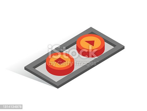 istock Isometric vector button. Isolated icon. Two switcher in gray and orange color 1314134978