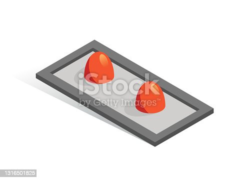 istock Isometric vector button. Isolated icon. Two switcher in gray and orange color 1316501825