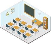 Isometric Vector Classroom Icon.