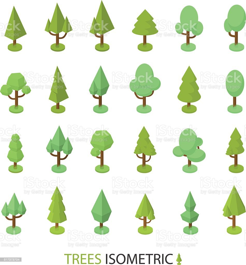 Isometric Vector Color Tree Set To Create A Landscape Stock Vector ...