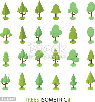 Isometric vector tree set to create a landscape
