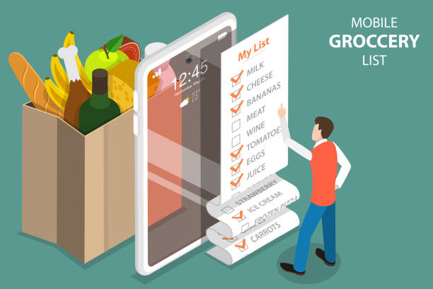 3D Isometric Vector Concept of Mobile Grocery List, Shopping List App. 3D Isometric Flat Vector Concept of Mobile Grocery List, Shopping List App. shopping list stock illustrations