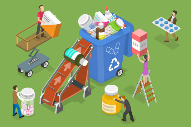 3D Isometric Vector Conceptual Illustration of Expired and Unused Drugs Disposal. 3D Isometric Flat Vector Conceptual Illustration of Expired and Unused Drugs Disposal. obsolete stock illustrations
