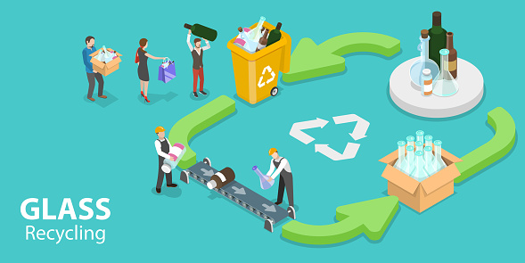 3D Isometric Vector Conceptual Illustration of Glass Recycle Process Infographic