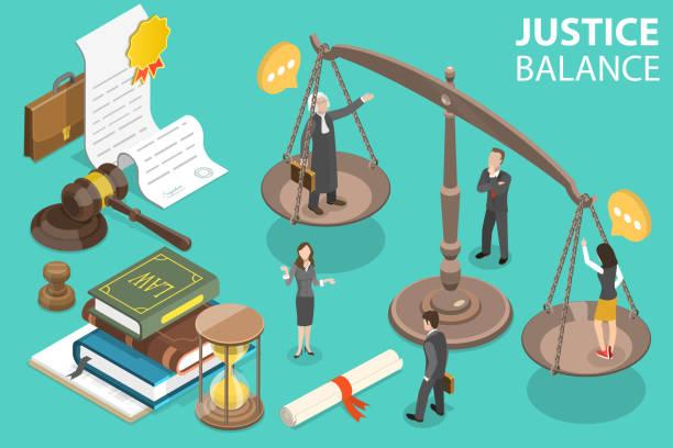 ilustraciones, imágenes clip art, dibujos animados e iconos de stock de ilustración conceptual de vector isométrico 3d de derecho y justicia. - civil rights