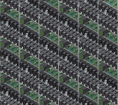 Isometric vector crypto currency mining farms seamless pattern.