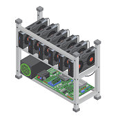 Isometric vector crypto currency mining single farm with graphic video cards isolated.