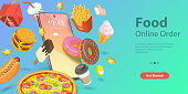 3D Isometric Flat Vector Landing Page for Restaurant and Cafe Online Food Ordering Web Service, Takeaway Food Online, Fast Free Delivery.