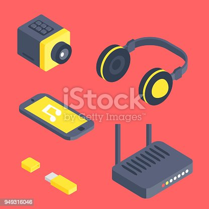 Isometric vector gadget computer devices icons wireless technologies mobile communication 3d illustration. Digital electronic technology isomerical tools technology.
