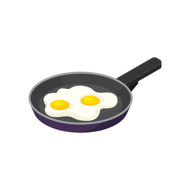 Isometric vector icon of pan with fried eggs. Tasty morning meal. Appetizing dish for breakfast. Food theme Icon of pan with fried eggs. Tasty morning meal. Appetizing dish for breakfast. Food theme. Graphic element for promo poster or cafe menu. Isometric vector illustration isolated on white background. frying pan stock illustrations