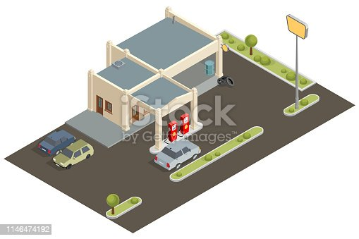 Vector isometric gas station building