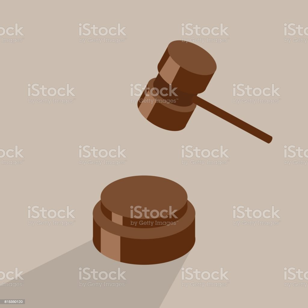 Isometric vector illustration auction and bidding concept. Judge hammer and sentencing. vector art illustration