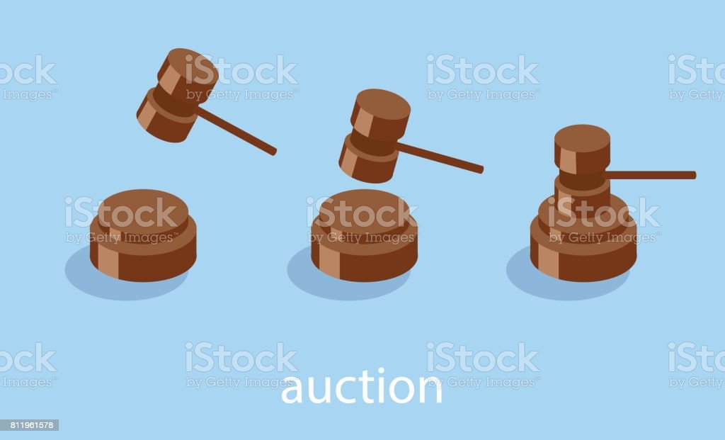 Isometric vector illustration auction and bidding concept. Sale of the lot at auction. Big auction hammer. vector art illustration
