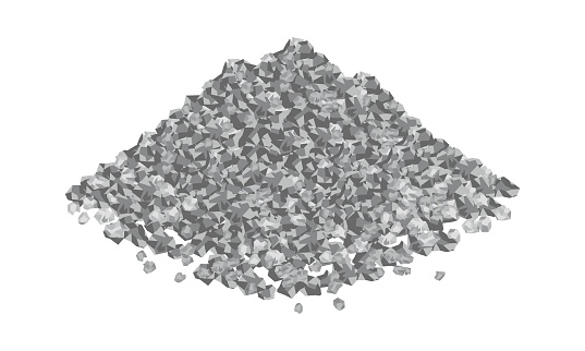 Isometric vector illustration gravel pile isolated on white background. Heap of gravel colorful vector icon. Crushed and stones in flat cartoon style. Construction and building material.