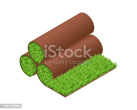 istock Isometric vector illustration green grass turf rolls isolated on white background. Realistic carpet lawn grass icon in flat cartoon style. Artificial rolled green grass. Lawn rolls with brown soil. 1304253954
