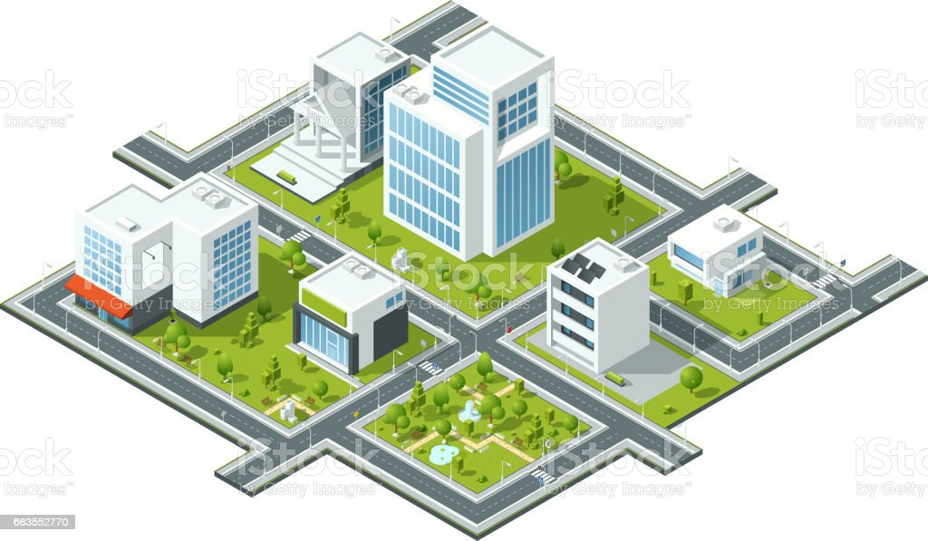Isometric vector illustration of public constructions. Buildings and trees on 3d map fragment. Cartography picture vector art illustration
