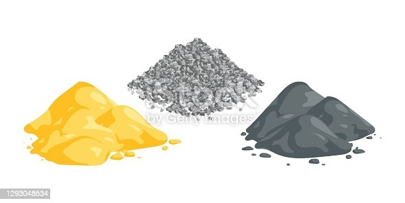 istock Isometric vector illustration sand, gravel and cement piles isolated on white background. Heaps of building materials vector icons in flat cartoon style. Construction and building materials. 1293048534