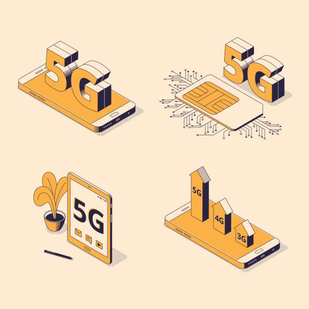 5g isometrische vektor-illustration set mit verschiedenen digitalen gadgets mit großen zeichen der fünften generation. - computergrundlagen stock-grafiken, -clipart, -cartoons und -symbole