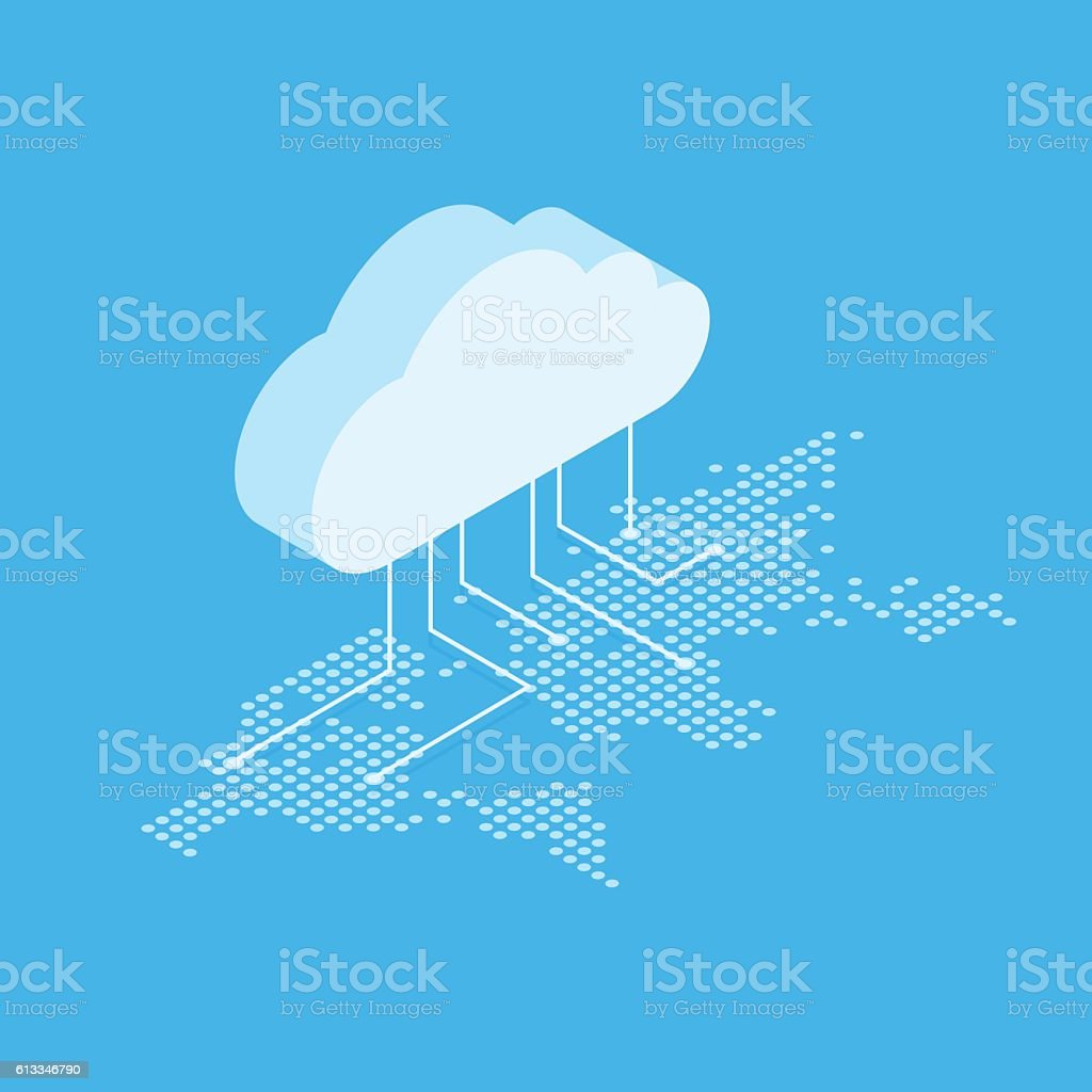 Isometric vector illustration showing the concept of cloud computing. From – Vektorgrafik