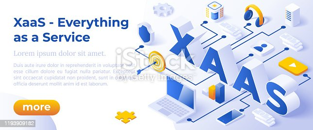 XAAS - Everything as a Service or on-Demand - Isometric Concept in Trendy Colors. Cloud Computing Segment Metaphor. Website Banner Layout Template. Vector Illustration.