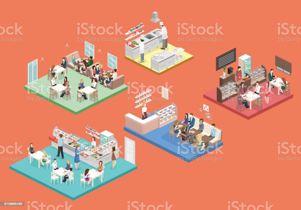 Isometric vector interior of sweet-shop, cafe, canteen and restaurant kitchen.