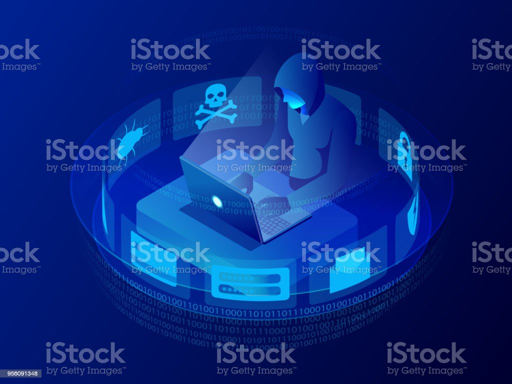 Isometric vector Internet hacker attack and personal data security concept. Computer security technology. E-mail spam viruses bank account hacking. Hacker working on a code. Internet crime concept. - Векторная графика Безопасность роялти-фри