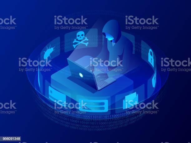 Isometric Vector Internet Hacker Attack And Personal Data Security Concept Computer Security Technology Email Spam Viruses Bank Account Hacking Hacker Working On A Code Internet Crime Concept — стоковая векторная графика и другие изображения на тему Безопасность