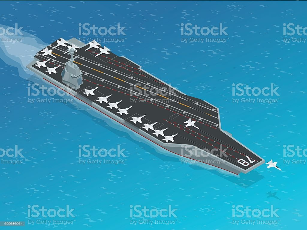 Isometric vector Navy Nuclear Aircraft carrier vector art illustration