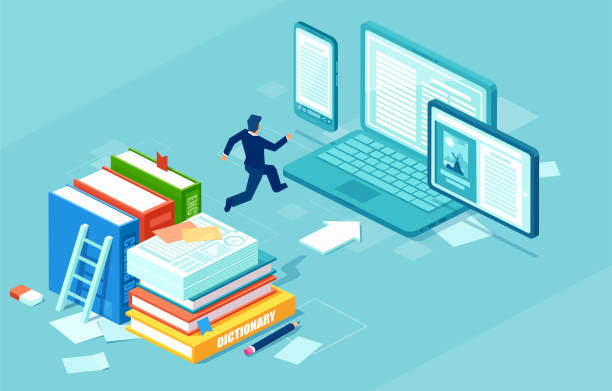 isometric vector of a businessman switching to digital technology from paper. - jumping stock illustrations