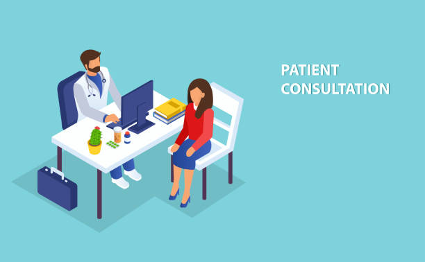 illustrazioni stock, clip art, cartoni animati e icone di tendenza di isometric vector of a doctor consulting a female patient in clinic office. - paziente