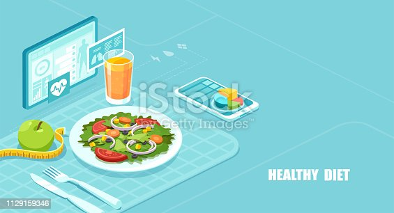 Healthy diet and weight loss program concept. Isometric vector of a nutrition app showing nutrition facts and assisting in calories count of a meal