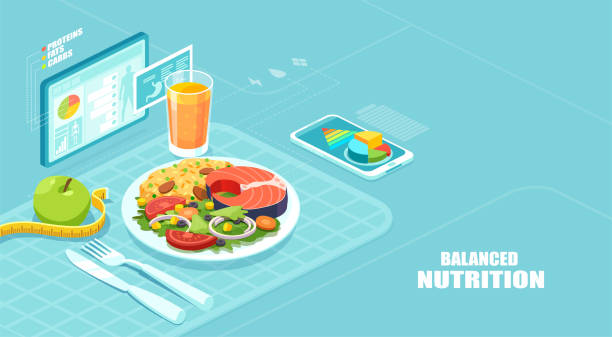 Isometric vector of a nutrition app showing nutrition facts and assisting in calories count of a meal Healthy balanced diet and weight loss program concept. Isometric vector of a nutrition app showing nutrition facts and assisting in calories count of a meal healthy eating stock illustrations